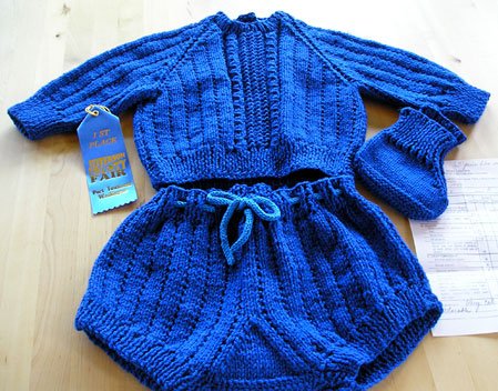 Baby knit wool romper, two piece