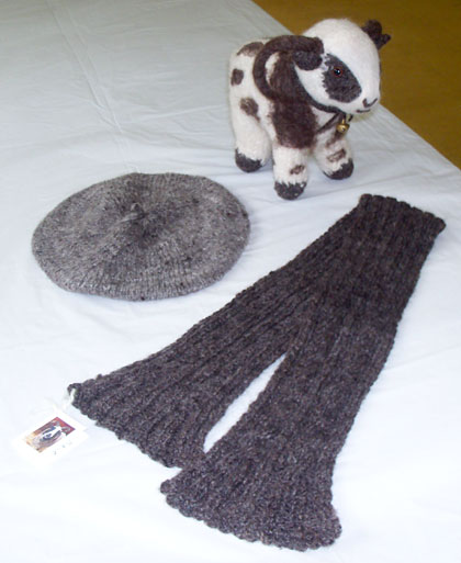 Home Grown, Hand Spun, Hand Knit Scarf and Beret