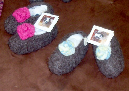 Home Grown, Hand Spun, Hand Knitted and Felted Toddler Slippers
