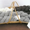 Skeins of hand-spun Jacobs yarn, much loved by knitters everywhere.