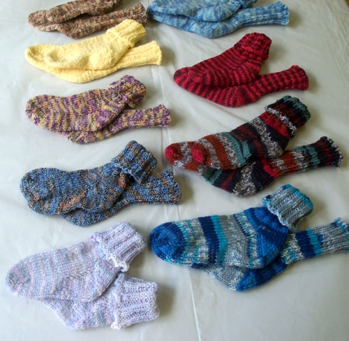 Hand knit washable wool and cotton toddler socks