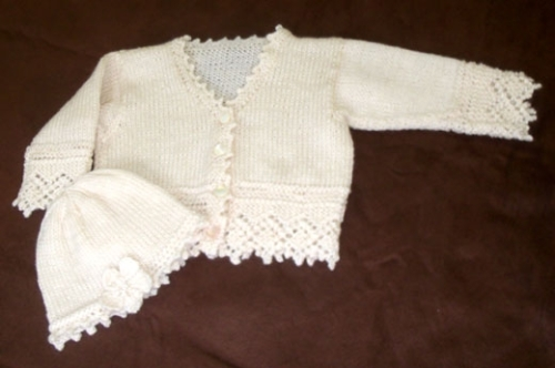 Hand knit Victorian Lace Baby Sweater and Hat